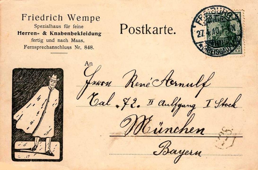 Eine Reklame-Postkarte der Firma Friedrich Wempe von 1910.  | Foto: Archiv Manfred Gallo