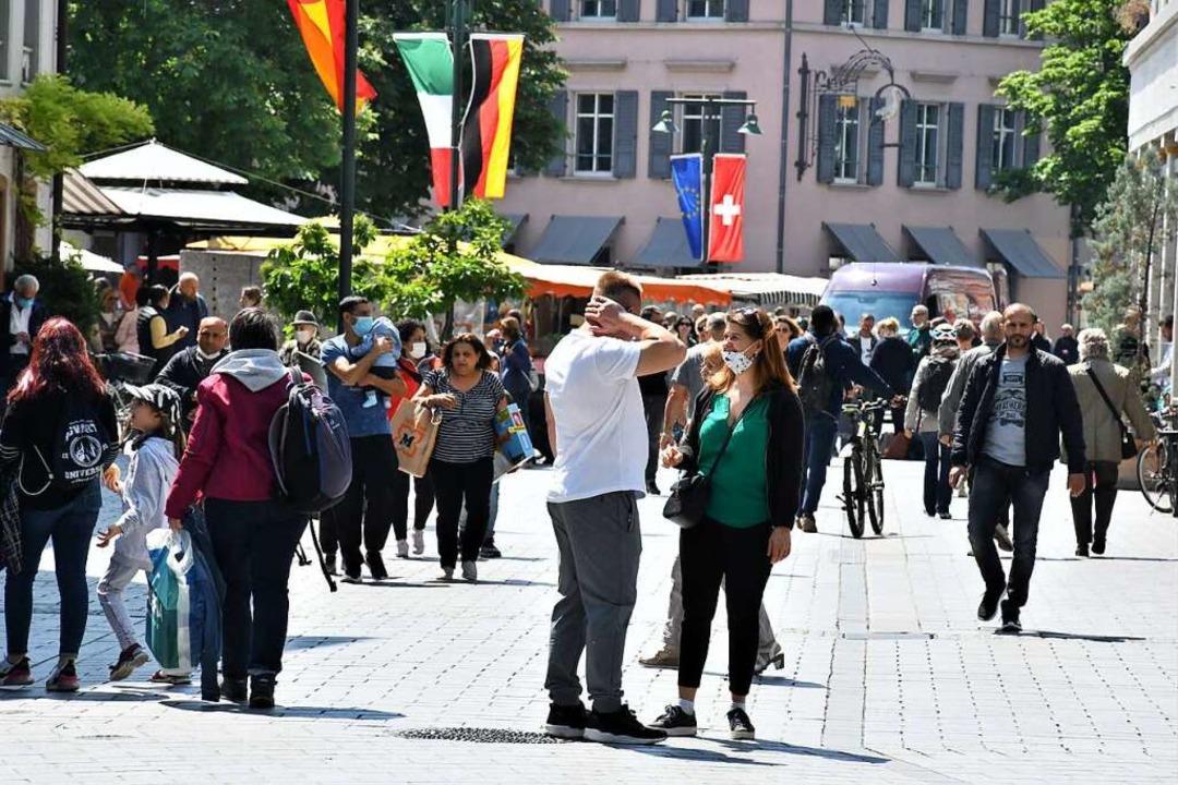 In Lörrachs Innenstadt ist wieder orde...Einkauf ist noch nicht wiedergekommen.  | Foto: Barbara Ruda