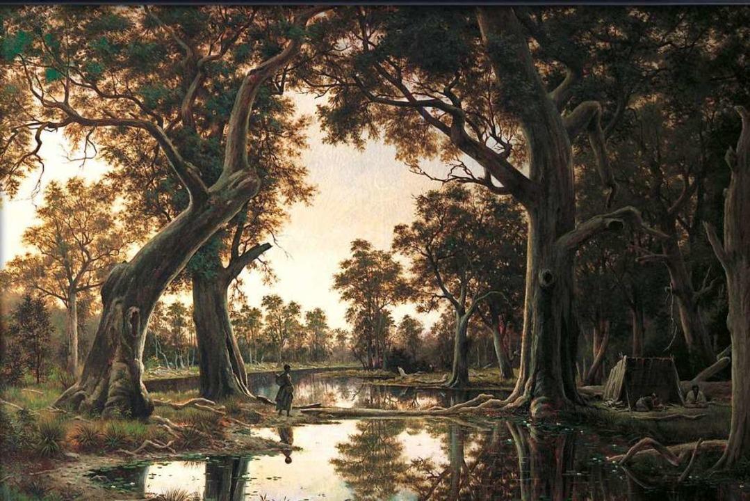 Die beiden Versionen des Ölgemäldes &#...ohnstone aus dem Jahr 1880 ist es rot.    Foto: Art Gallery of South Australia