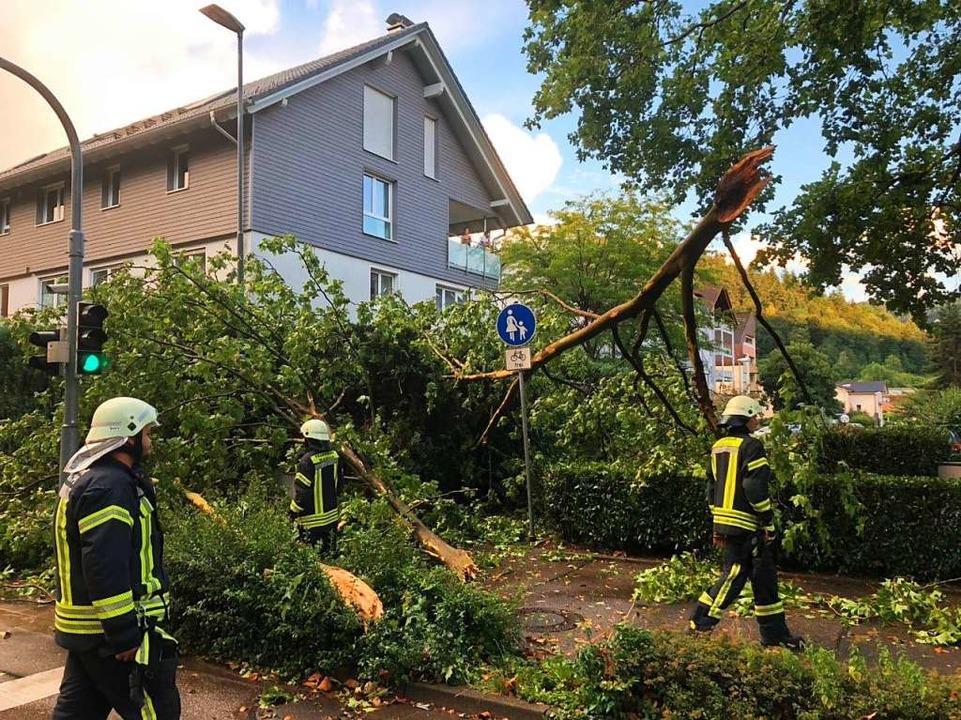 Das kurze, aber heftige Schlagwetter s...erwehr war an 18 Einsatzstellen aktiv.    Foto: Feuerwehr Waldkirch