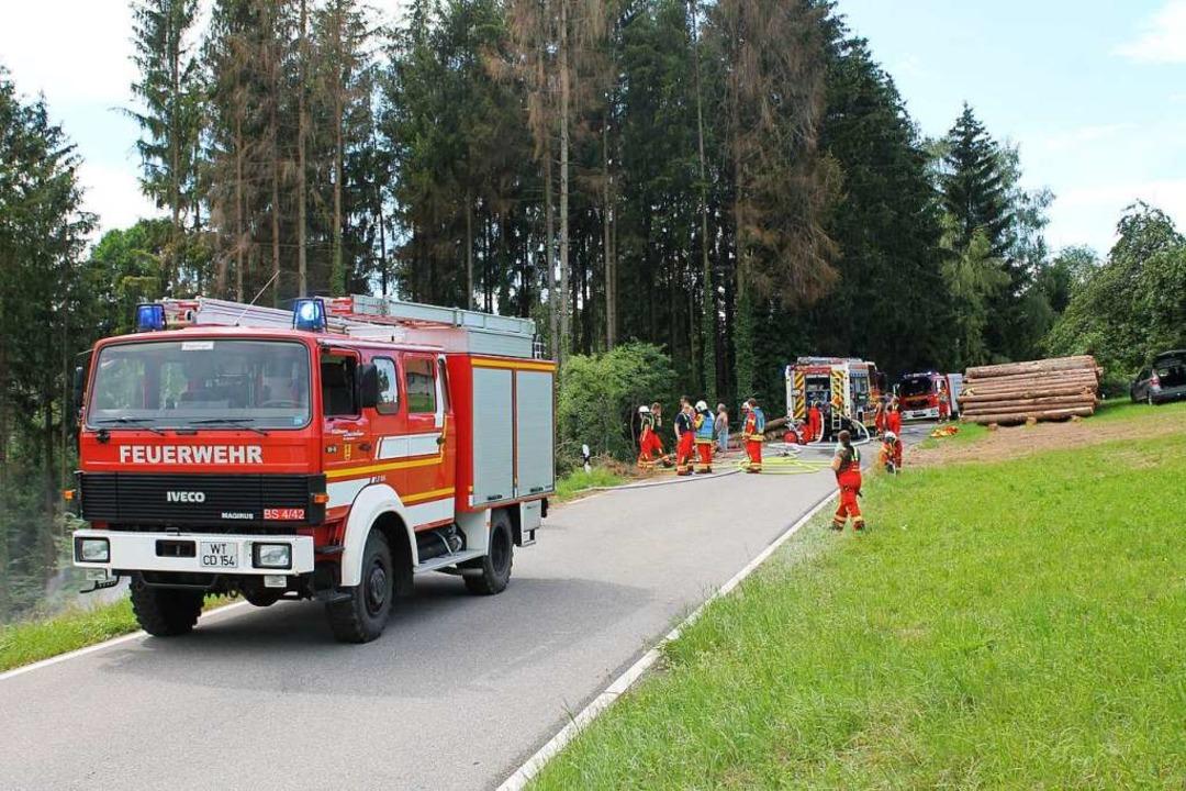 Die Feuerwehr löschte den Bereich großflächig ab und überprüfte das Erdreich.  | Foto: Wolfgang Tröndle