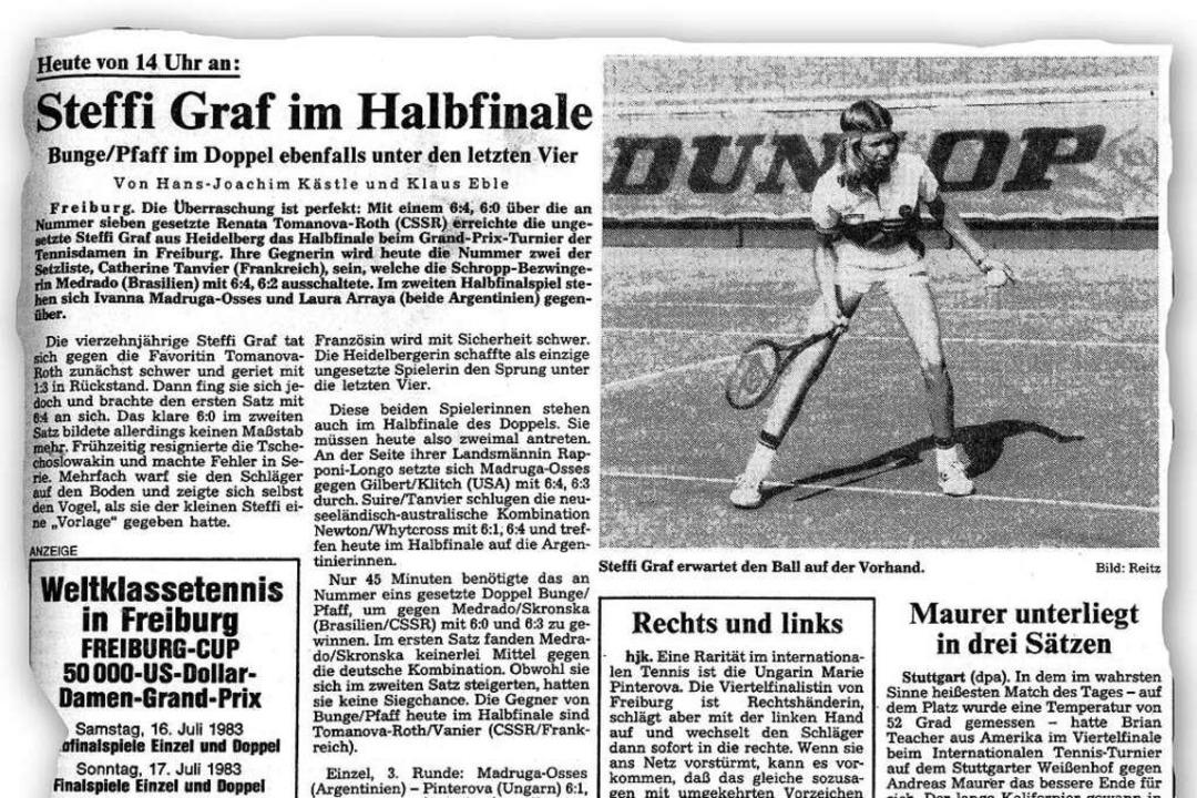 Die Badische Zeitung berichtete in der...Grand-Prix-Turnier beim Freiburger TC.  | Foto: bz