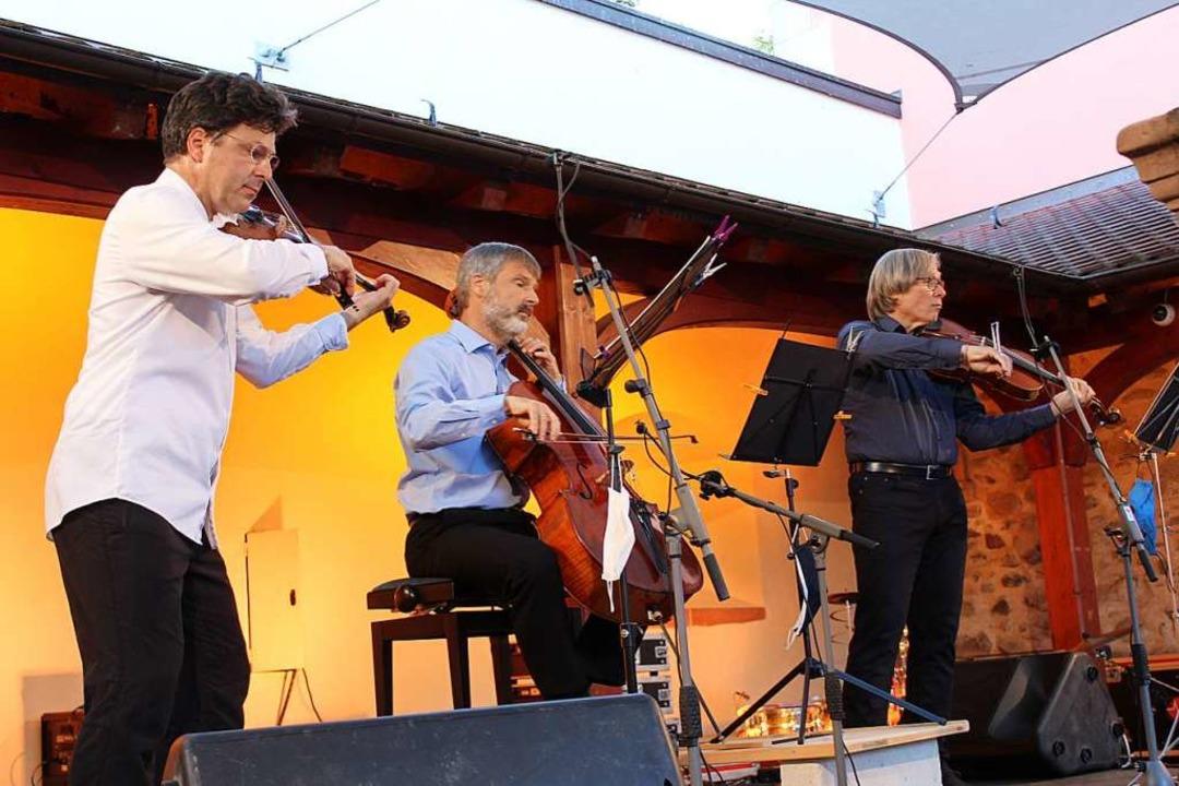 Musikalische Spitzenklasse: Das Dinneb... Hilmar Schweizer und Jean-Éric Souchy  | Foto: Erich Krieger