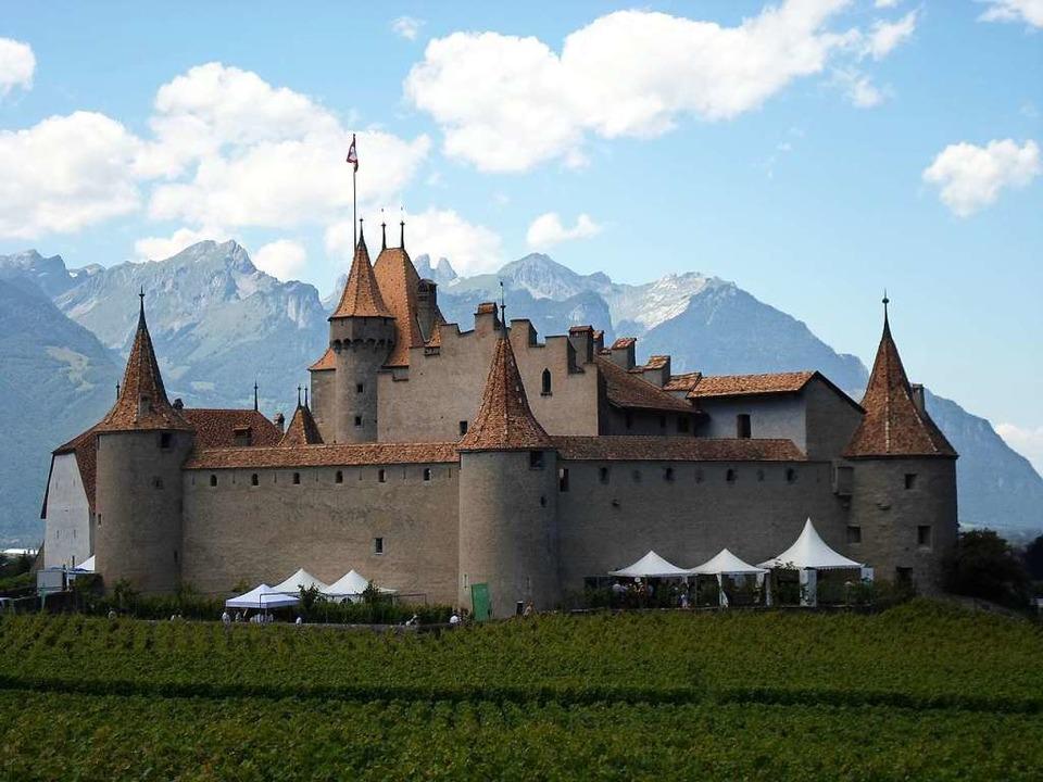 """Das Château d'Aigle bietet die b...en """"Mondial du Chasselas"""".    Foto: Dorothee Philipp"""