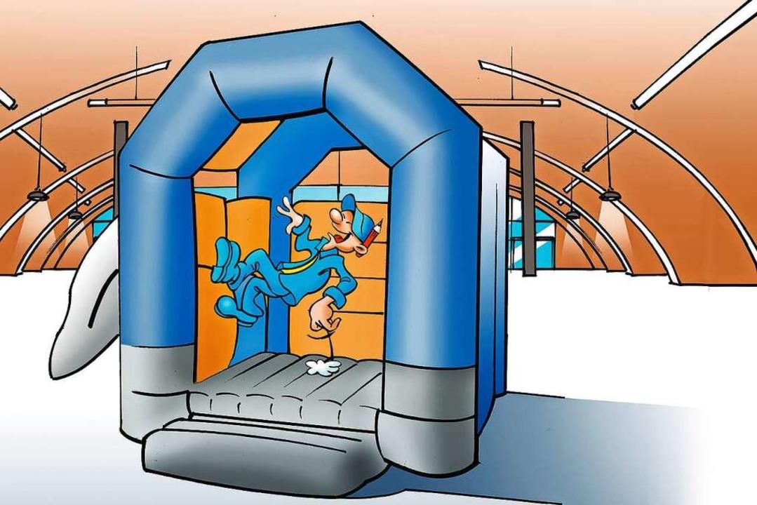 Vielen spaßige Spielstationen wie die ...y-World-Familienfreizeitpark auf dich.    Foto: Zeichnung: Ferdinando Terelle