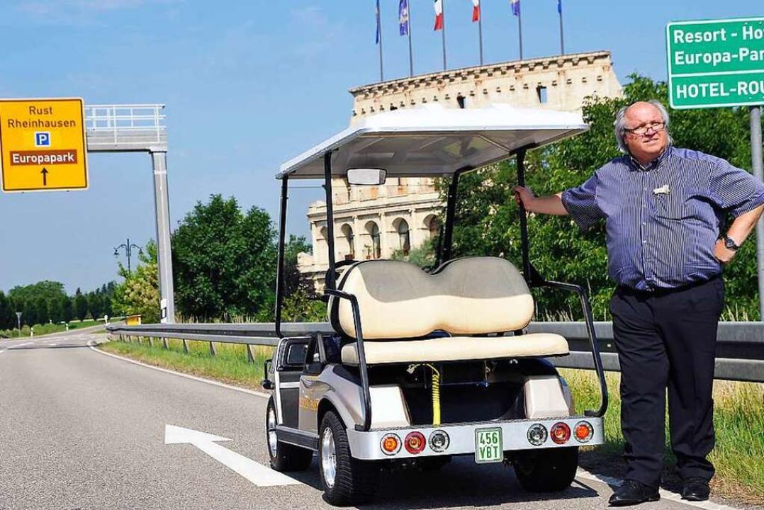 Michael Scholz in Aktion: Der frühere ...schnelle Anfahrt auf das Park-Gelände.  | Foto: Bernhard Rein