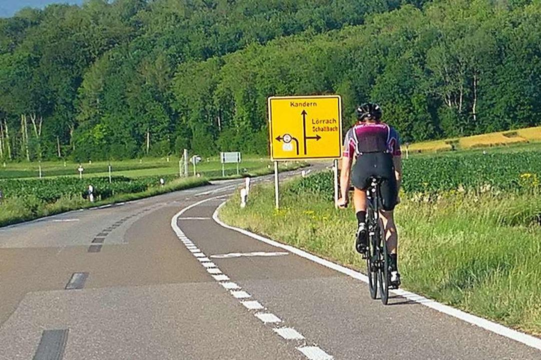 Die Teststrecke für Radschutzstreifen ... Verlauf der Strecke immer mal wieder.  | Foto: Victoria Langelott