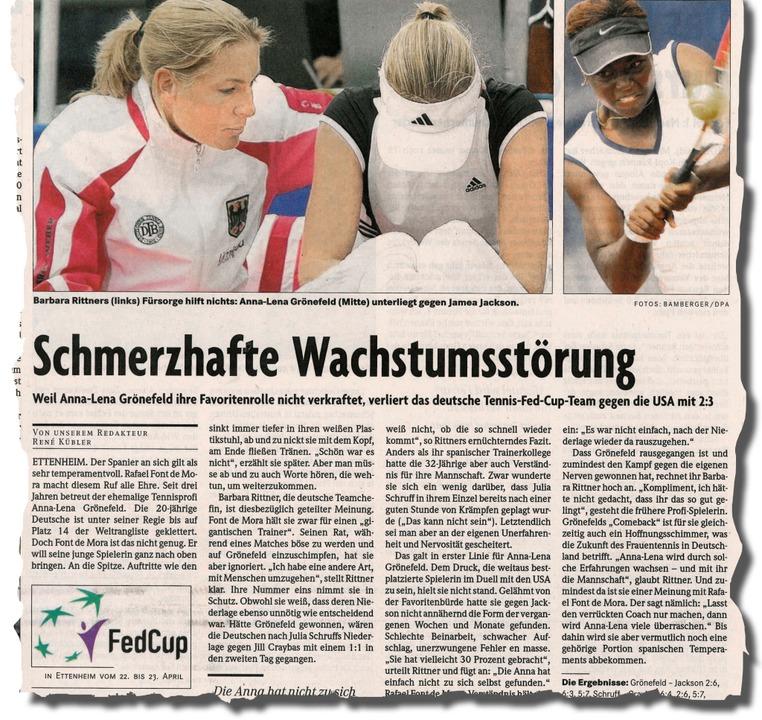 Bericht in der BZ vom 24. April 2006    Foto: BZ-Archiv