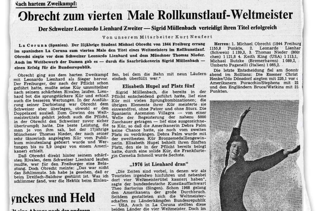 Der Bericht über die Rollkunstlauf-WM ...adischen Zeitung vom 2. September 1974  | Foto: mmm