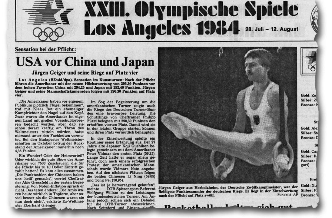 Die Badische Zeitung berichtet am 1. A... Bild von Jürgen Geiger an den Ringen.  | Foto: privat
