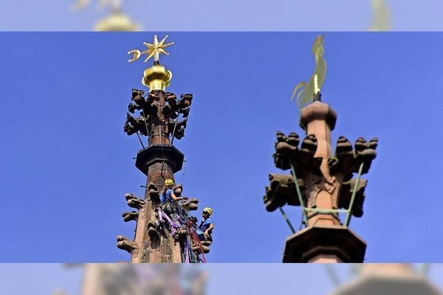 Kletterer am Münsterturm