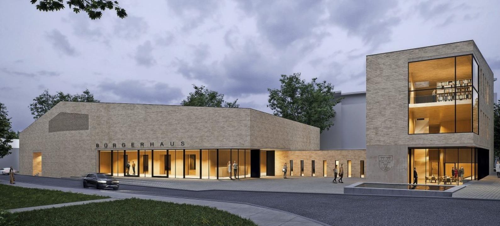 Die aktuellen Pläne für das Bürgerhaus...chtlich Kosten und Nutzung Fragen aus.  | Foto: Fuchs-Maucher-Architekten