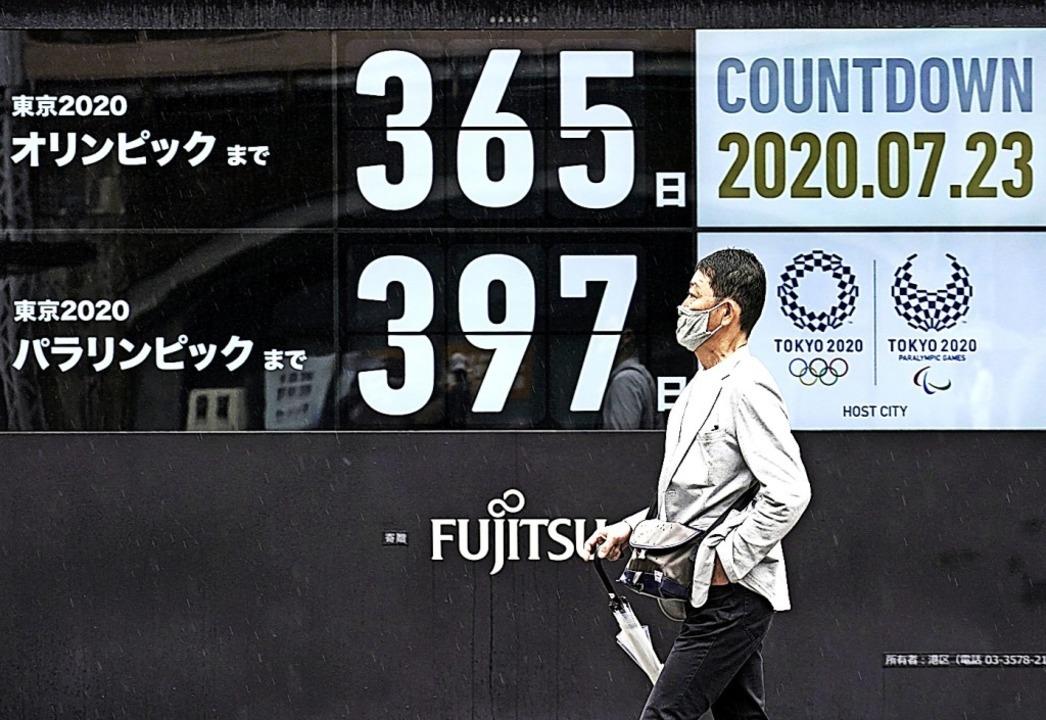 Nochmal von vorn: der Countdown für Olympia in Tokio    Foto: Eugene Hoshiko (dpa)