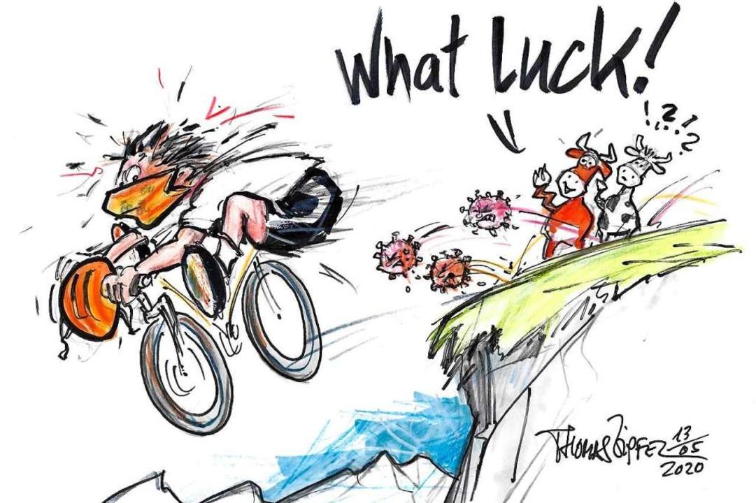 Schneller als das Virus? Mountainbiker...g, wenn es ums rasche Fortkommen geht.  | Foto: Thomas Zipfel