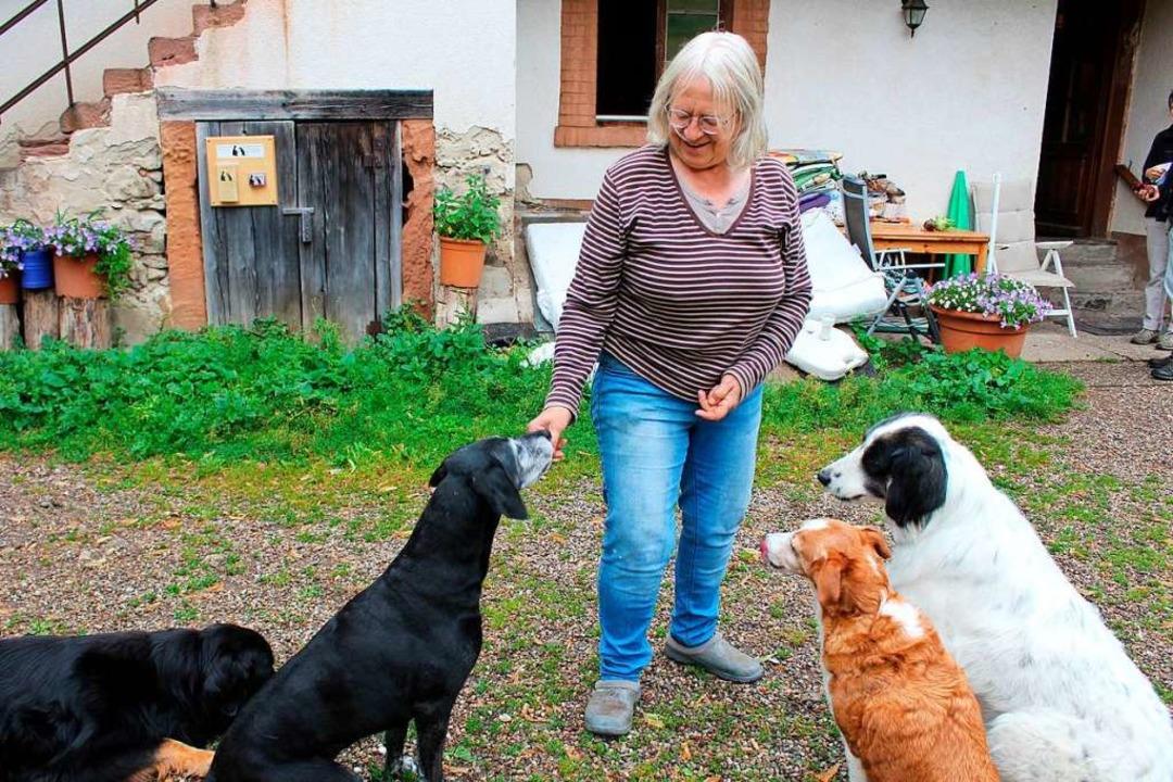 Gerlinde Wax, hier mit  Tieren in der Hundepension, verlässt die Grünen.  | Foto: Erich Krieger