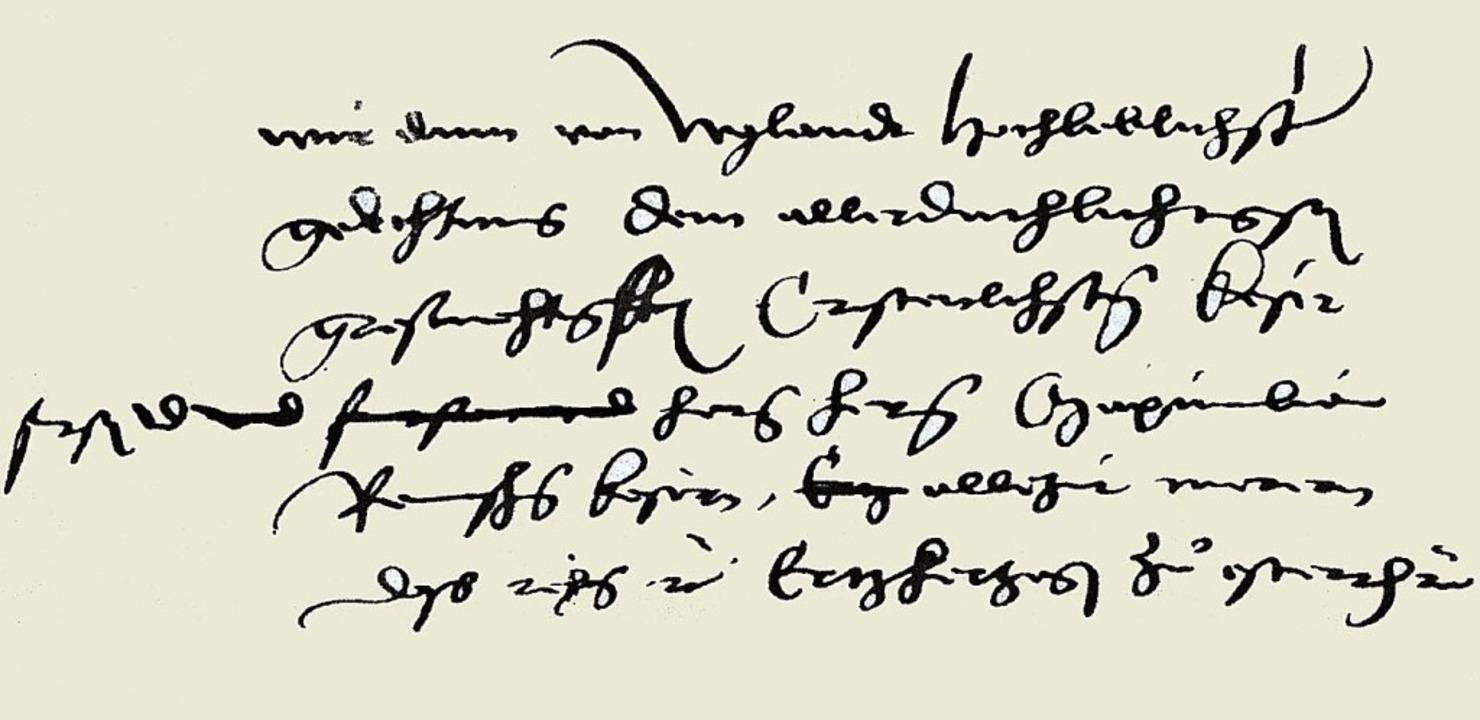 Aus dem handschriftlichen Entwurf von Zasius' Vorrede zum Stadtrecht  | Foto: bz