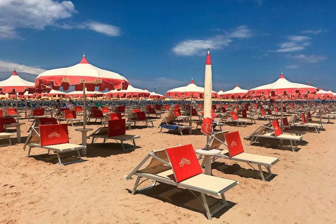 Alles leer: der Strand von Rimini dieser Tage  | Foto: Müller-Meinungen