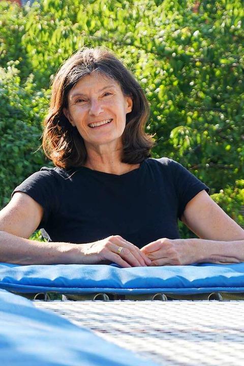Susanne Schöffler im Jahr 2020 – an ihrem Trampolin im eigenen Garten.  | Foto: Privat