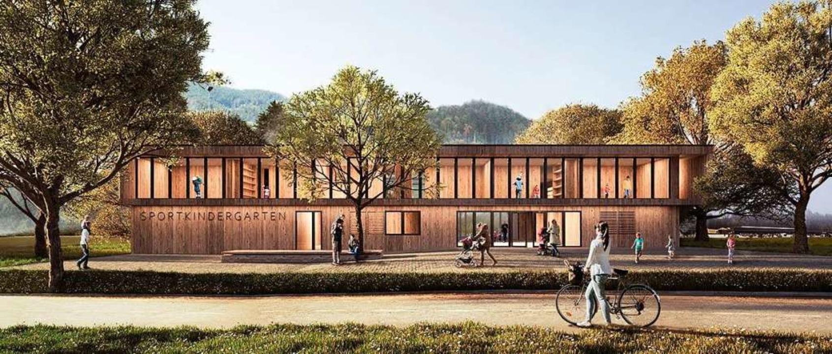 Planungsentwurf des Kirchzartener Sportkindergartens.  | Foto: Architektur 109, Stuttgart
