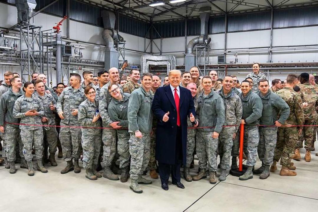 US-Präsident Trump bei einem Besuch in Ramstein, 2018.  | Foto: Shealah Craighead (dpa)