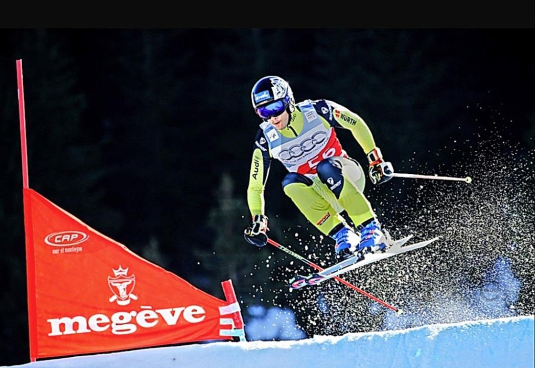 Rasant unterwegs: Skicrosser Tobias Ba...Weltcuprennen im französischen  Megève    Foto: Privat