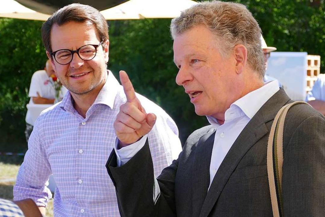 Offenburgs OB Marco Steffens mit Burda-Konzernchef Paul-Bernhard Kallen  | Foto: Helmut Seller