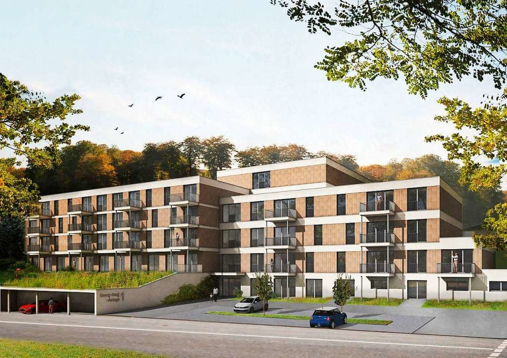 52 Wohnungen möchten  die Investoren i... Die Fassade wird mit Holz verkleidet.    Foto: Architekturbüro Dorsch