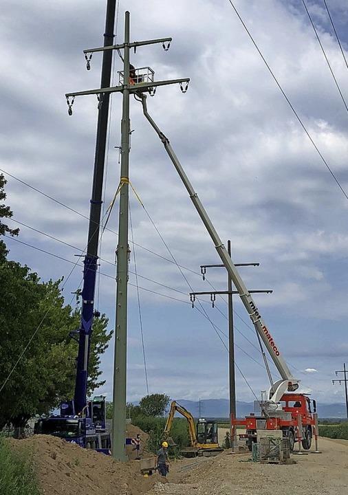 ED Netze ersetzt in Staufen einen Strommast durch einen neuen Stahlvollwandmast.  | Foto: Energiedienst