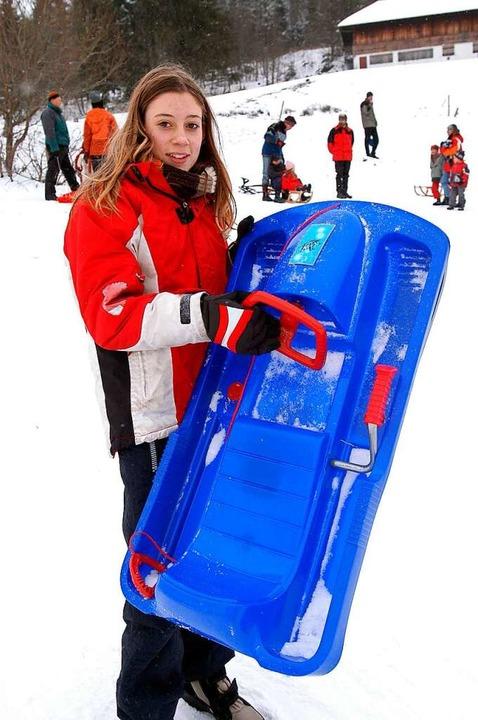"""Jana Höfflin, 12, aus Teningen: &#8222...anze Schnee ins Gesicht fliegt.""""    Foto: Ingo Schneider"""