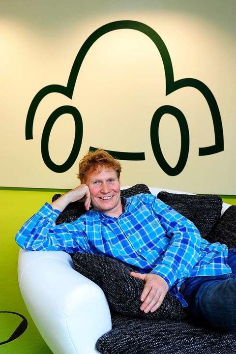 Da liefen die Geschäfte noch gut: Firmengründer Christian Mahnke 2014.     Foto: Thomas Kunz