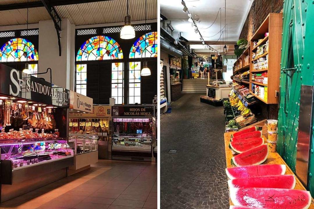 Links: Die zentrale Markthalle in Sala...r Obststand in der Markthalle Freiburg  | Foto: Claudia Förster Ribet/Teresa Spiller