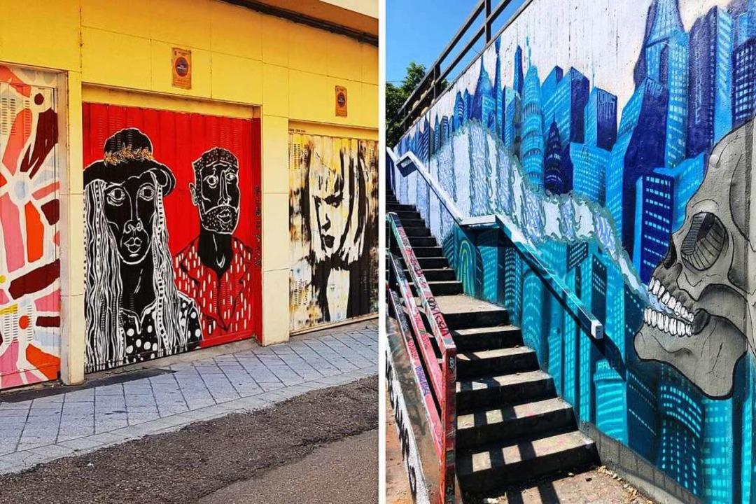 Links: Verzierte Garagentore im salman...affiti an einer Treppe an der Dreisam.  | Foto: Claudia Förster Ribet/Teresa Spiller