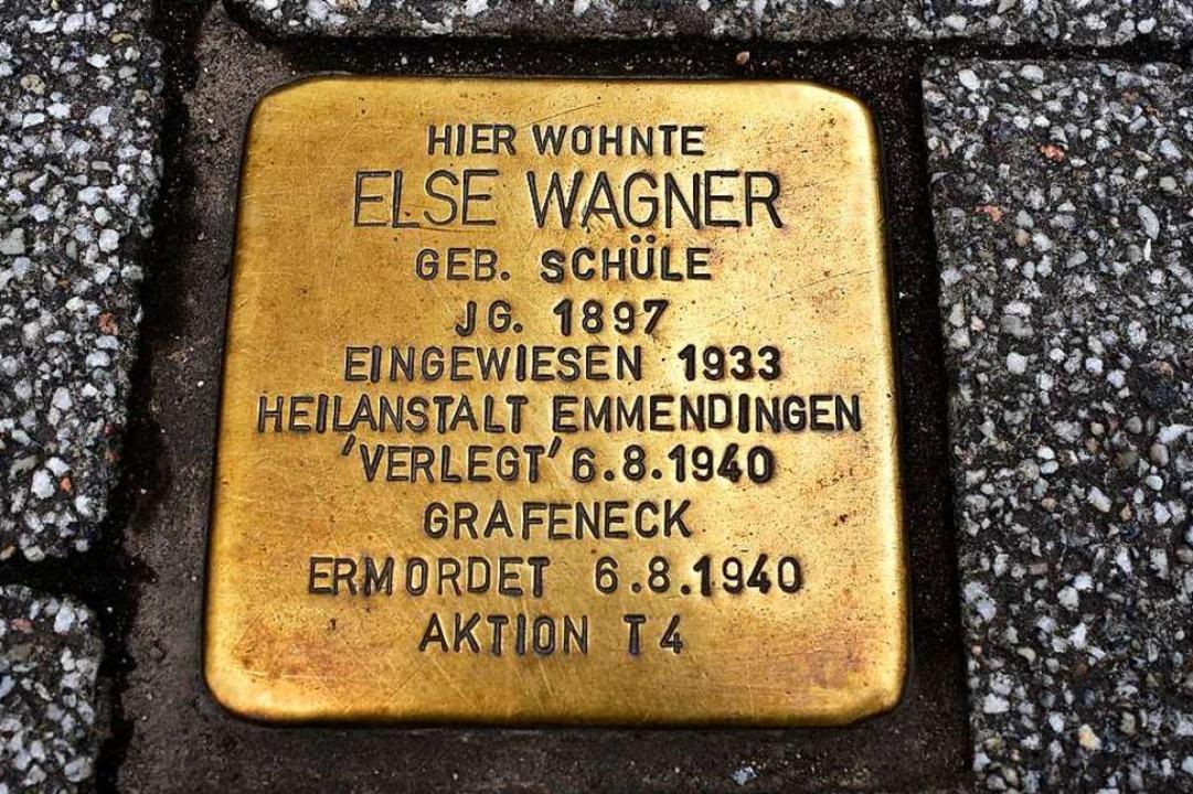 Stolperstein vor dem Haus Carl-Kistner-Straße  2 zum Gedenken an Else Wagner  | Foto: Thomas Kunz