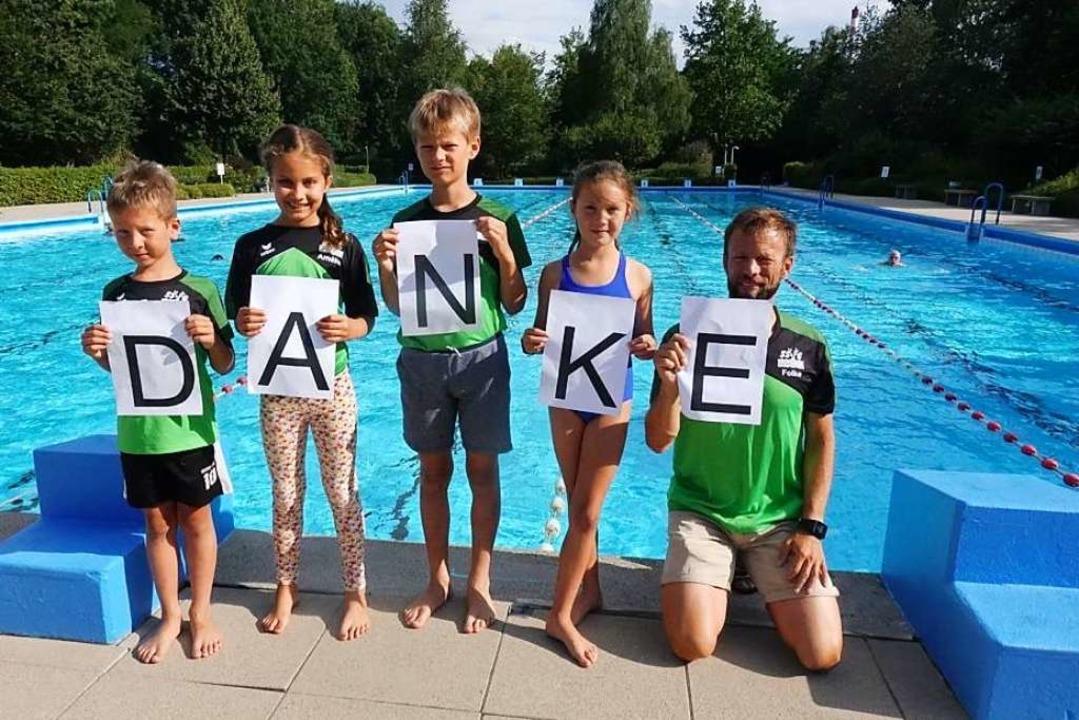 Luca Kaben, Amélie Tesche, Matti Kaben... Wucherpfennig mit Trainer Folke Kaben    Foto: Björn Tesche