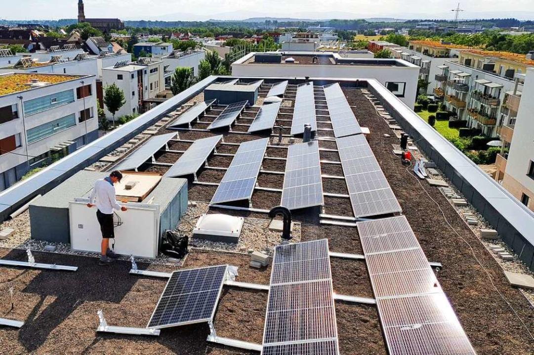 Solaranlage auf einem Stadtbau-Gebäude im Wohngebiet Innere Elben  | Foto: Burkhard Flieger