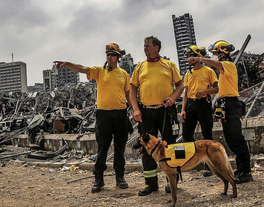 Deutsche Helfer in Beirut    Foto: Marwan Naamani (dpa)