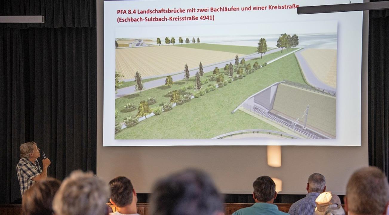 Roland Diehl informiert die Zuhörer über die Planungen der Bahn.  | Foto: Volker Münch