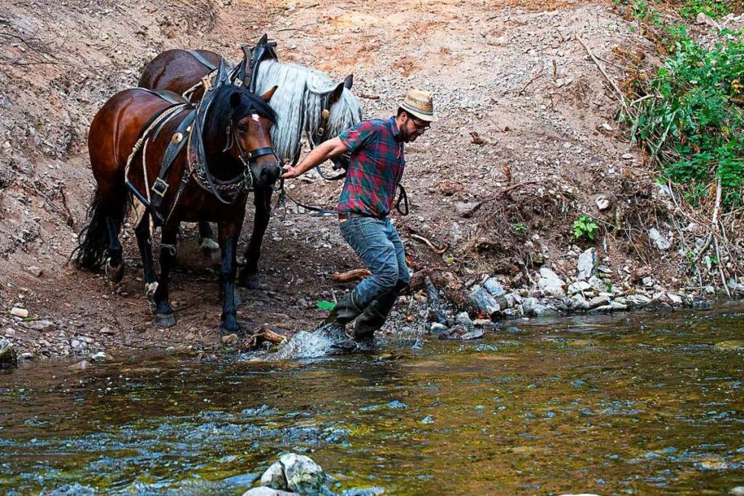 Simon Blattert quert mit den beiden Pferdedamen die Wutach beim Hockenjos-Steg.  | Foto: Wolfgang Scheu