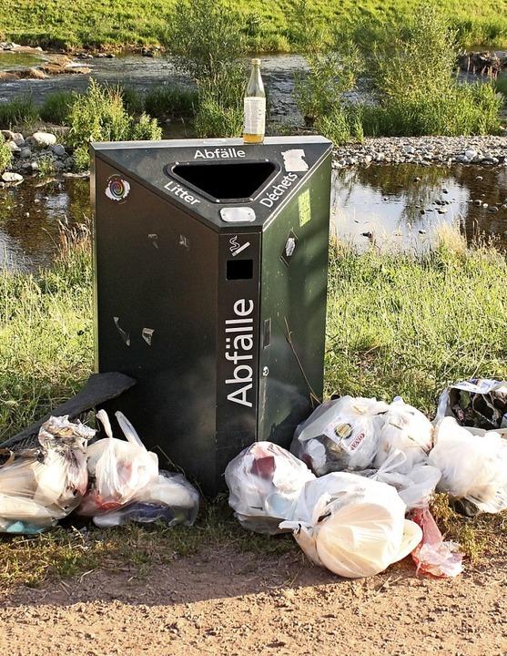 Die Möglichkeit, auch größeren Müll wi...Mülhaupt unter anderem an der Dreisam.  | Foto: Lothar Mülhaupt