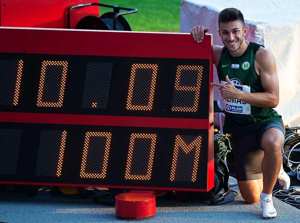 Derzeit schnellster Europäer über 100 Meter: Deniz Almas    Foto: Swen Pförtner (dpa)