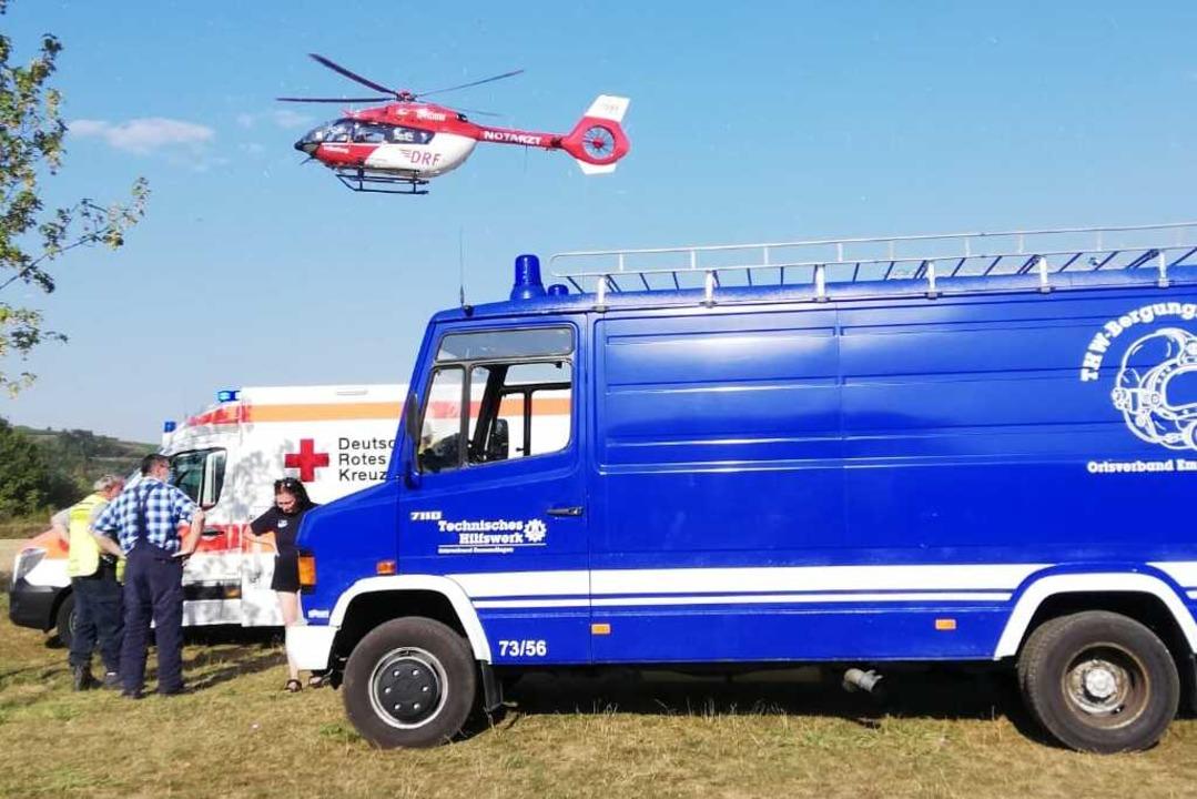 Am Malterdinger Baggersee waren am Son...taucher und ein Helikopter im Einsatz.  | Foto: THW Ortsverband Emmendingen