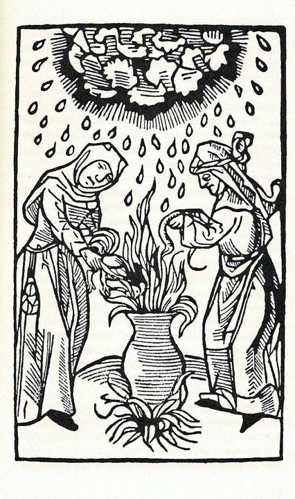 Zwei Hexen machen am Kessel Donner und Hagel. Ein Holzschnitt aus dem Jahr 1489.    Foto: Ekkehard Klem