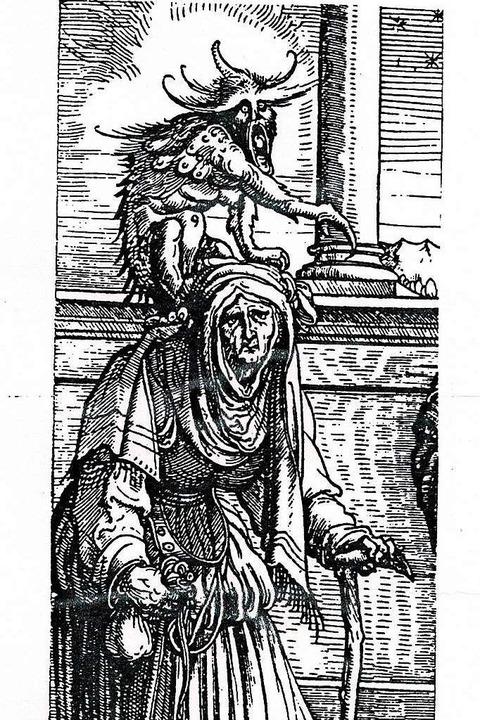 Hexe mit Hilfsgeist. Ein   Holzschnitt von Hans Burgkmair um das Jahr 1512.    Foto: Ekkehard Klem