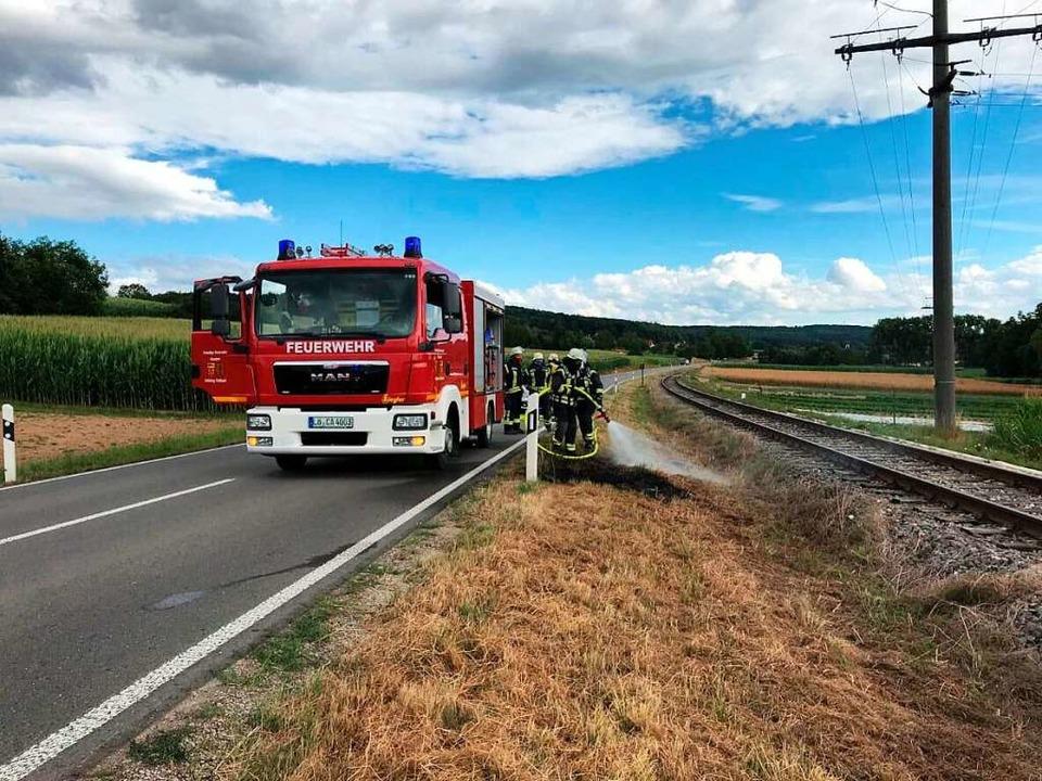An dieser Stelle  an der Kandertalbahn brannte es Ende Juli.  | Foto: Lenke