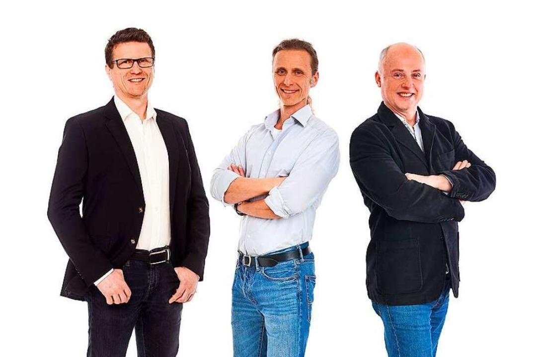 Die Gründer der  Actome GmbH (von link... Karsai, Peter Koltay und  Csaba Jene   | Foto: Conny Ehm