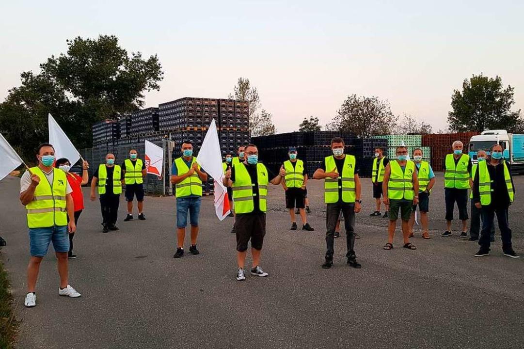 Der Warnstreik in Neuenburg-Steinensta... Corona-Sicherheitsbestimmungen statt.  | Foto: Deutscher Gewerkschaftsbund