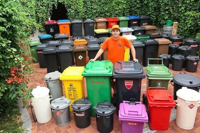 Mülltonnensammler forscht nach einer Freiburger Tonne aus den 90ern
