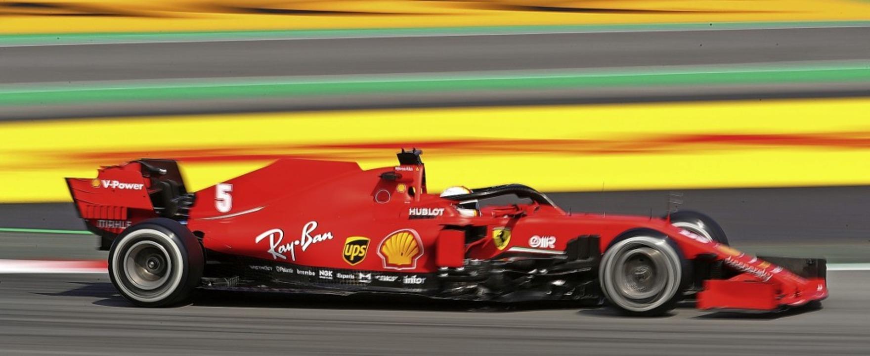 Sebastian Vettel wurde Fünfter und Zwö...aining auf der Strecke bei Barcelona.   | Foto: BRYN LENNON (AFP)