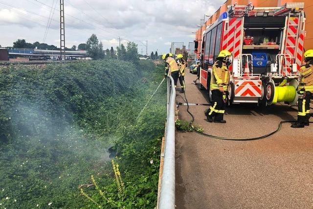 Der Bahndamm brannte beim Emmendinger Obi-Markt