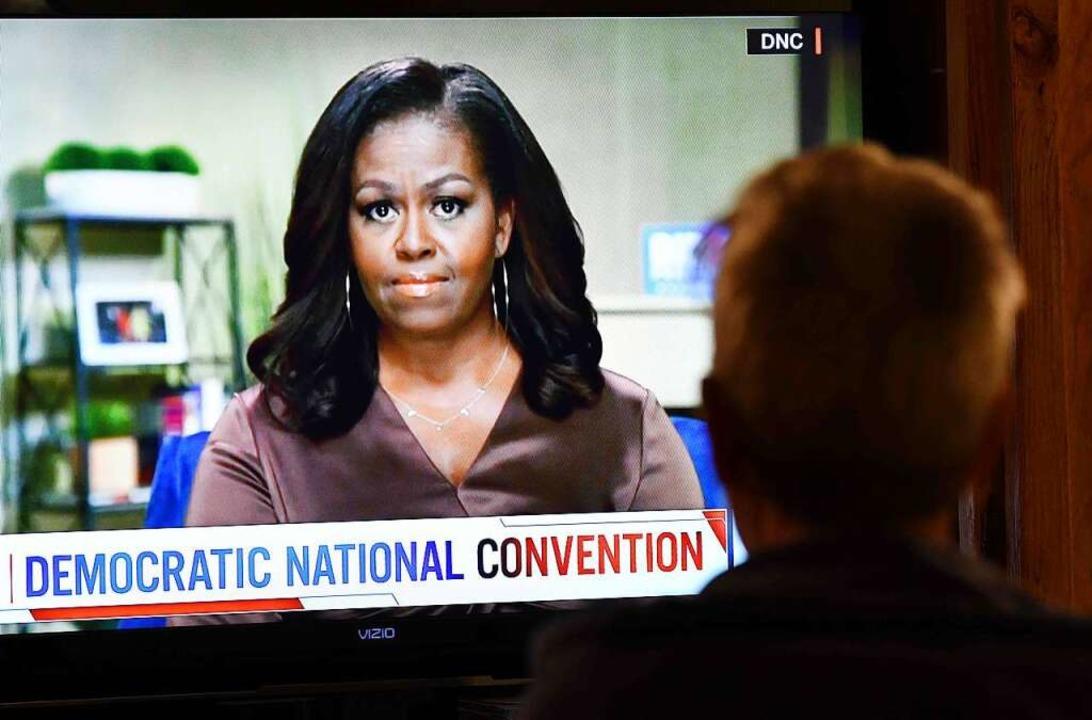 Michelle Obama bei ihrer vielzitierten Rede.  | Foto: CHRIS DELMAS (AFP)